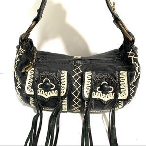 Betsey Johnson Western Fringe Embroidered Hobo Bag